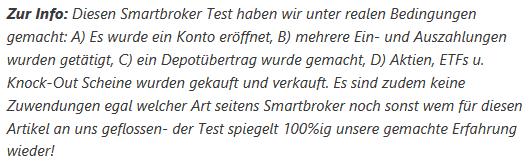 Infotext zum Test Smartbroker Erfahrungen
